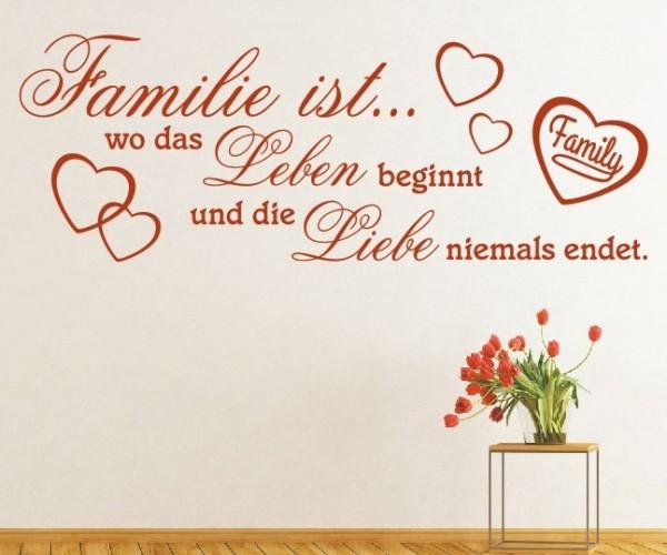 Wandtattoo - Familie ist... wo das Leben beginnt und die Liebe niemals endet. | 24