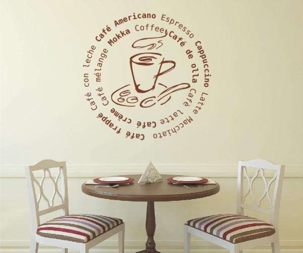 Wandtattoo - Küchen Wandtattoo - Tee Kaffee Küche Esszimmer Coffeshop Wandbild Wanddeko-1