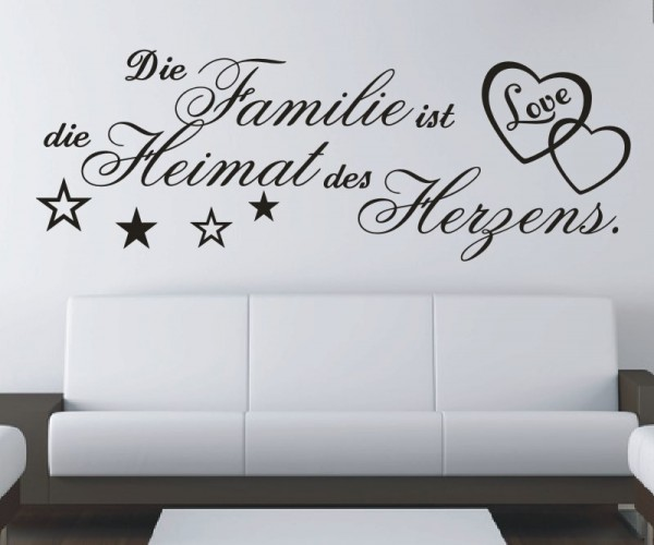 Wandtattoo - Die Familie ist die Heimat des Herzens. - Variante 7