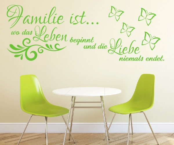 Wandtattoo - Familie ist... wo das Leben beginnt und die Liebe niemals endet. | 16