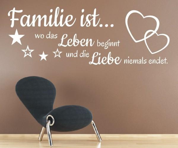 Wandtattoo - Familie ist... wo das Leben beginnt und die Liebe niemals endet.   23