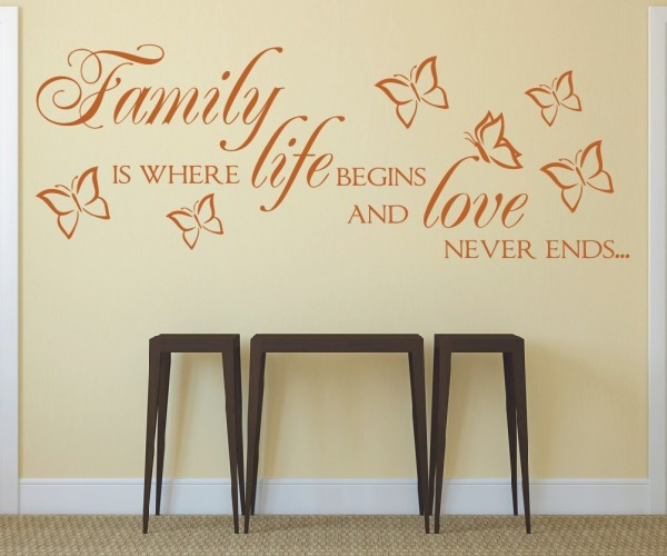 Wandtattoo - Family is where life begins and love never ends... - Variante 3