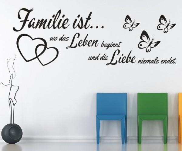 Wandtattoo - Familie ist... wo das Leben beginnt und die Liebe niemals endet. - Variante 25