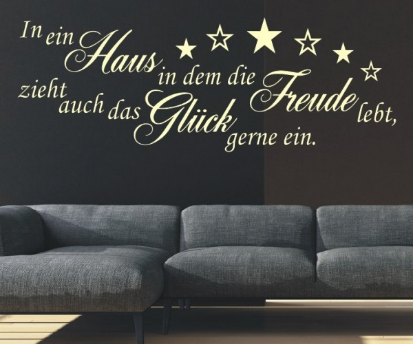 Wandtattoo - In ein Haus in dem die Freude lebt, zieht auch das Glück gerne ein. - Variante 11