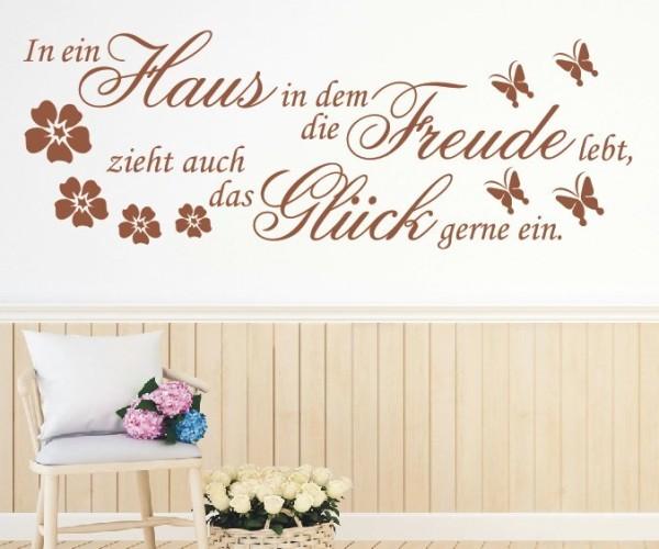 Wandtattoo - In ein Haus in dem die Freude lebt, zieht auch das Glück gerne ein. - Variante 1