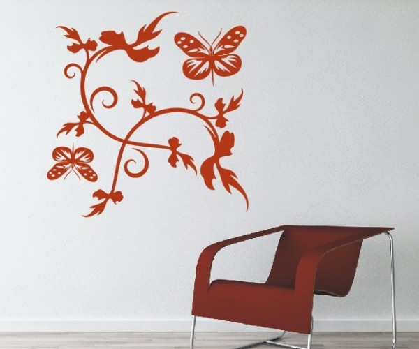 Wandtattoo - Blumenmotiv / Blumenranke - Variante 257
