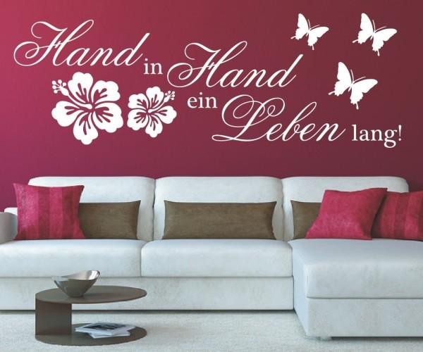 Wandtattoo - Zusammen Hand in Hand ein Leben lang! - Variante 2