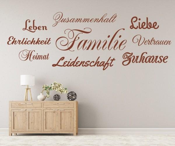 Wandtattoo - Familie, Leben, Leidenschaft, Zuhause, Zusammenhalt, Heimat, Geborgenheit, Vertrauen, Ehrlichkeit, L | 3