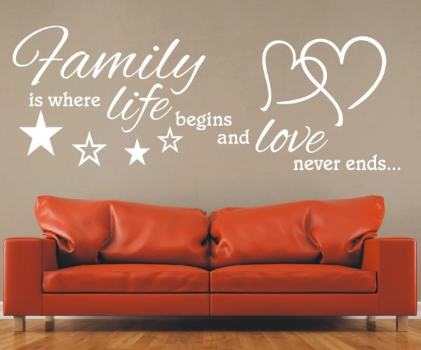 Wandtattoo - Family is where life begins and love never ends... - Variante 4