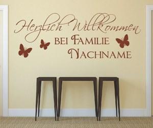 Wandtattoo Räume Flur -Herzlich-Willkommen-bei-Familie-Wunschname