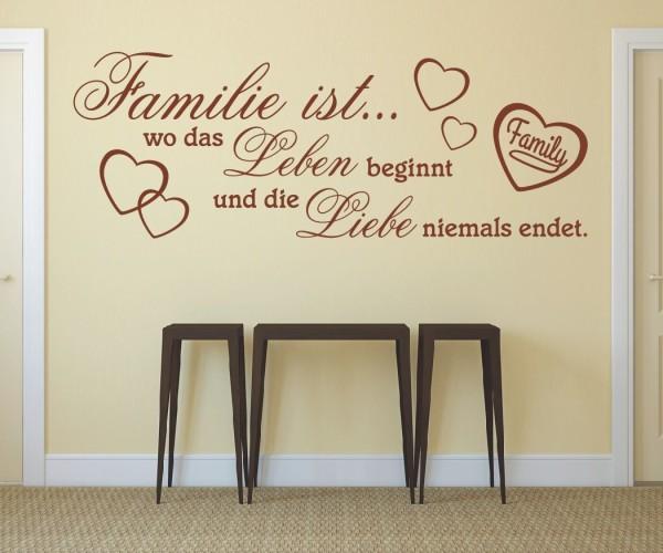 Wandtattoo - Familie ist... wo das Leben beginnt und die Liebe niemals endet. | 22