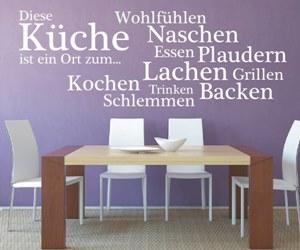 Sprüche Wandtattoos kaufen für Kaffee und Esszimmer - Diese Küche ist ein Ort zum... Wohlfühlen, Naschen, Essen, Plaudern, Lachen, Grillen, Kochen, Trinke