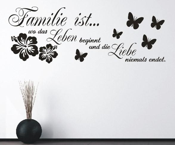Wandtattoo - Familie ist... wo das Leben beginnt und die Liebe niemals endet. - Variante 7