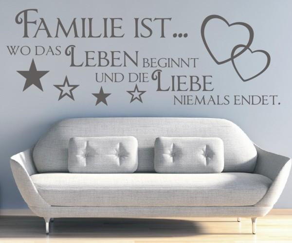 Wandtattoo - Familie ist... wo das Leben beginnt und die Liebe niemals endet. - Variante 26