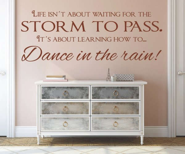 Wandtattoo - Life isn´t about waiting for the storm to pass, it´s about learning to Dance in the Rain.   11