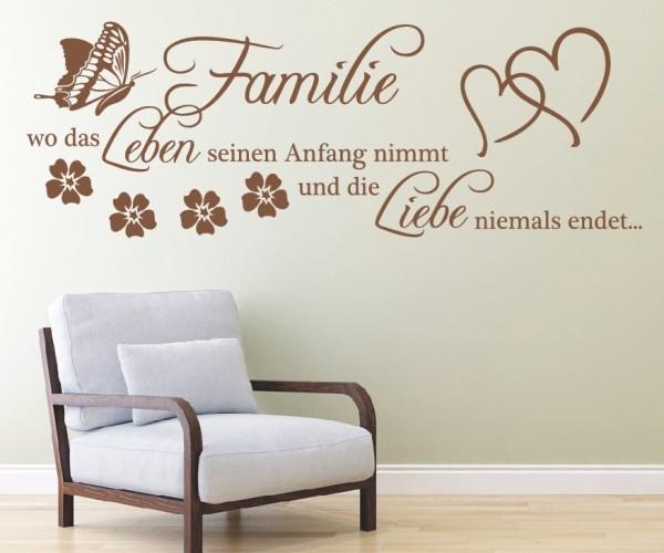 Wandtattoo - Familie ist... wo das Leben beginnt und die Liebe niemals endet.   13