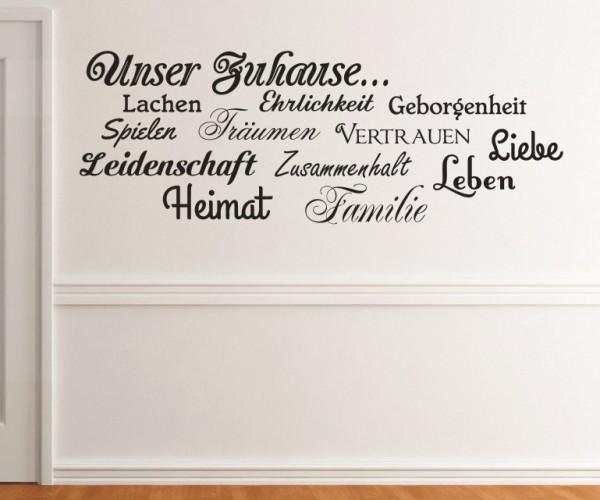 Wandtattoo - Familie, Leben, Leidenschaft, Zuhause, Zusammenhalt, Heimat, Geborgenheit, Vertrauen, Ehrlichkeit, L - Variante 5