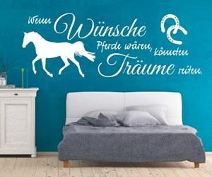 Sprüche Wandtattoos kaufen mit Hund Katze & Pferd - Wenn Wünsche Pferde wären, könnten Träume reiten.