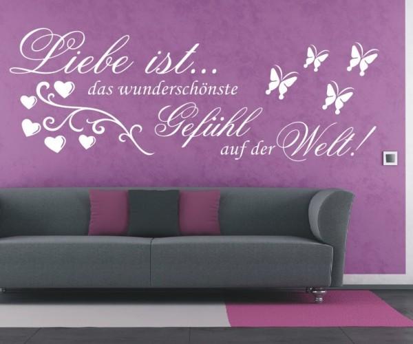 Wandtattoo - Liebe ist... das wunderschönste Gefühl auf der Welt! - Variante 1