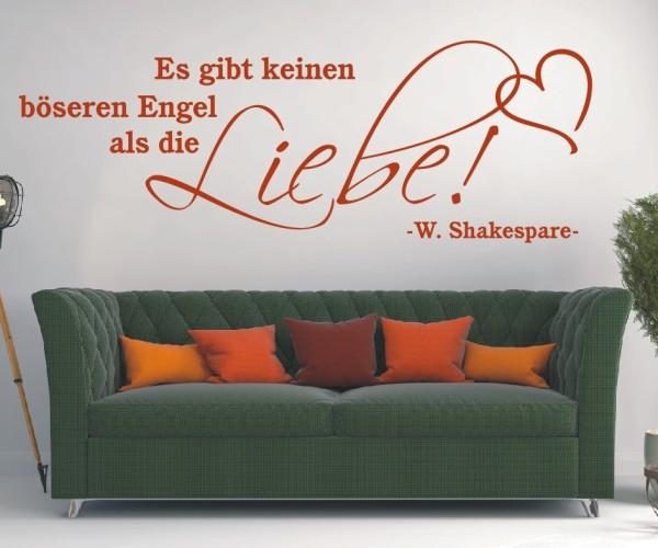 Wandtattoo - Es gibt keinen böseren Engel als die Liebe! - W. Shakespare - Variante 1