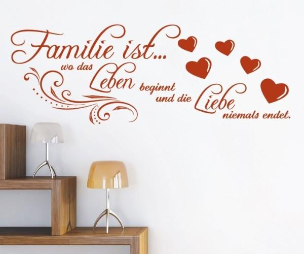 Wandtattoo - Familie ist... wo das Leben beginnt und die Liebe niemals endet. - Variante 4