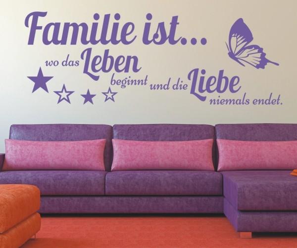Wandtattoo - Familie ist... wo das Leben beginnt und die Liebe niemals endet. | 2