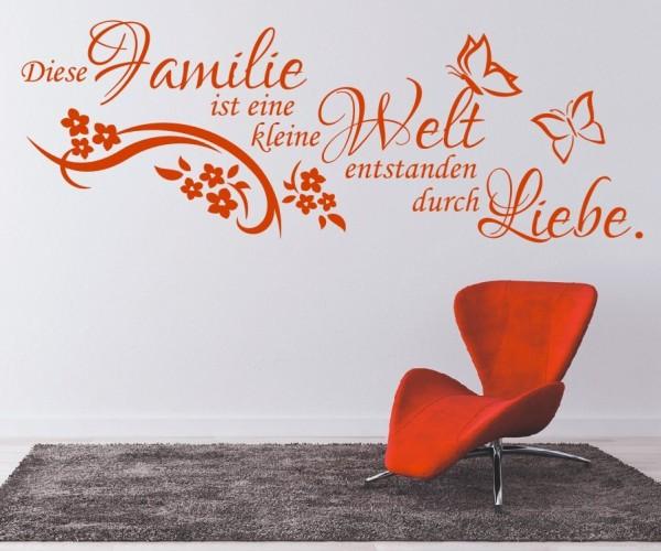 Wandtattoo - Familie ist eine kleine Welt entstanden durch Liebe. - Variante 5