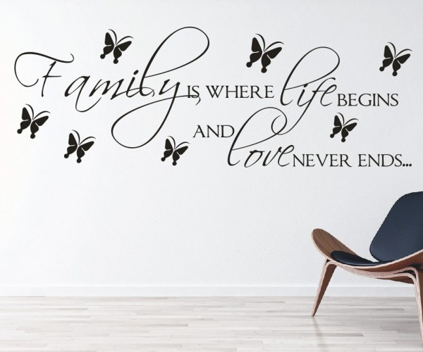 Wandtattoo - Family is where life begins and love never ends... - Variante 5