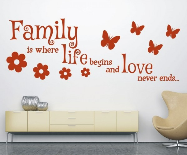 Wandtattoo - Family is where life begins and love never ends... - Variante 10