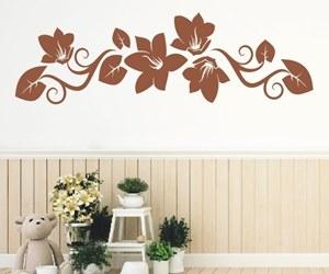 Wandtattoos kaufen mit Blumenbanner, Blüten und Ranken