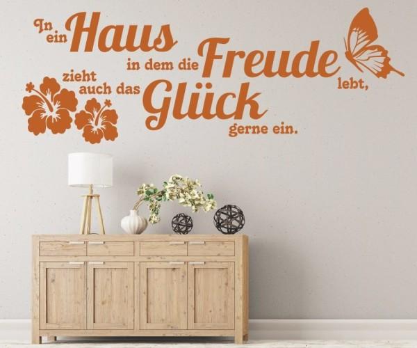 Wandtattoo - In ein Haus in dem die Freude lebt, zieht auch das Glück gerne ein. - Variante 2