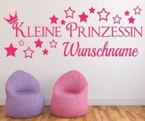 Wandtattoo Zimmer Kinderzimmer -Kleine-Prinzessin-mit-Wunschname