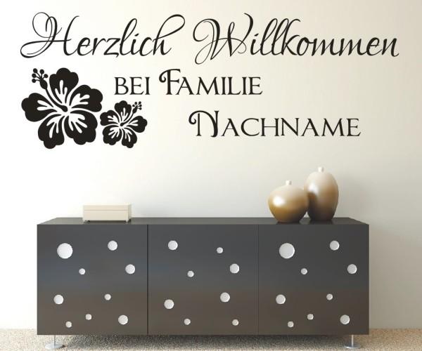 Wandtattoo - Herzlich Willkommen bei Familie Wunschname | 2