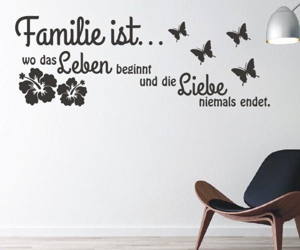 Wandtattoo - Familie ist... wo das Leben beginnt und die Liebe niemals endet. - Variante 15