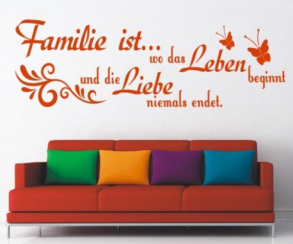 Wandtattoo - Familie ist... wo das Leben beginnt und die Liebe niemals endet. - Variante 29
