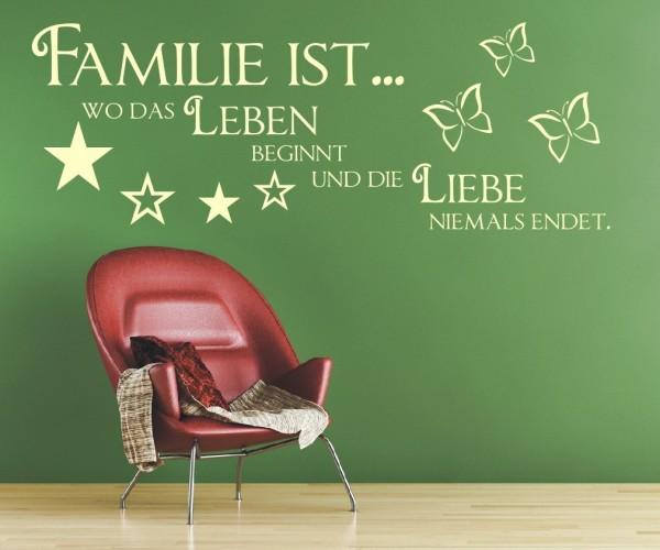 Wandtattoo - Familie ist... wo das Leben beginnt und die Liebe niemals endet. - Variante 11