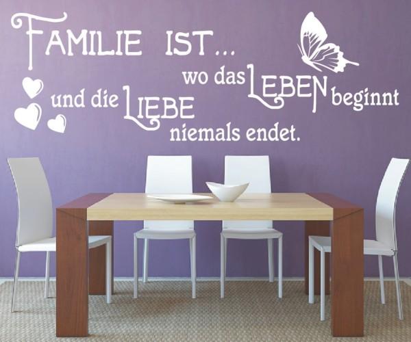 Wandtattoo - Familie ist... wo das Leben beginnt und die Liebe niemals endet. | 28