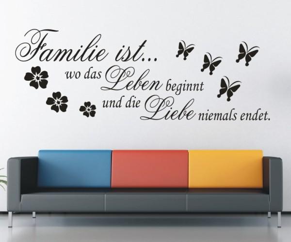 Wandtattoo - Familie ist... wo das Leben beginnt und die Liebe niemals endet. - Variante 1