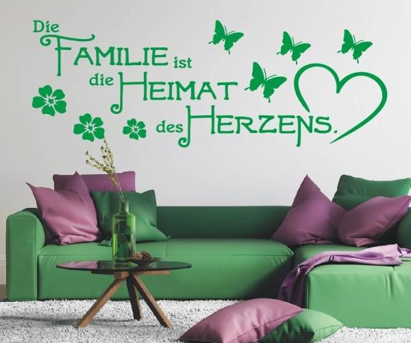 Wandtattoo - Die Familie ist die Heimat des Herzens. - Variante 4