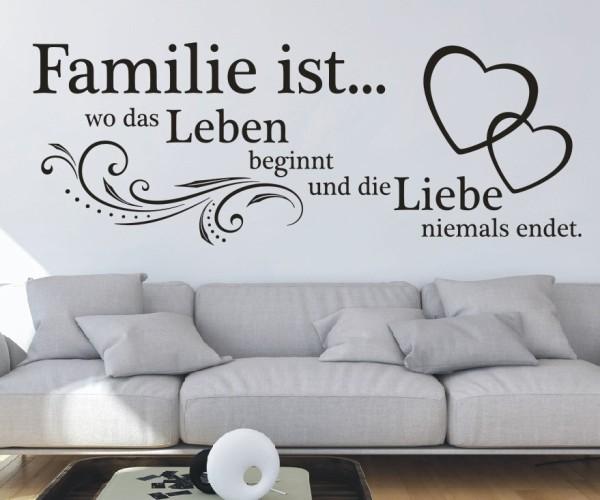 Wandtattoo - Familie ist... wo das Leben beginnt und die Liebe niemals endet. | 21