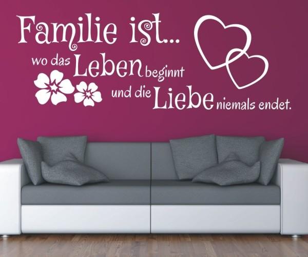 Wandtattoo - Familie ist... wo das Leben beginnt und die Liebe niemals endet. - Variante 12